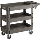 Lavex Industrial Medium Black 3-Shelf Utility Cart with Premium Handle and Built-In Tool Compartments - 40 11/16 inch x 16 7/8 inch x 33 1/2 inch