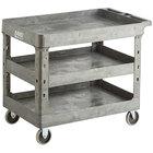 Lavex Industrial Large Gray 3-Shelf Utility Cart - 40 3/4 inch x 25 1/2 inch x 33 1/2 inch