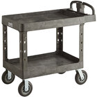 Lavex Industrial Large Black 2-Shelf Utility Cart with Ergonomic Handle, Built-In Tool Compartments, and Oversized Wheels - 43 1/8 inch x 24 5/8 inch x 38 1/8 inch