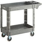 Lavex Industrial Medium Gray 2-Shelf Utility Cart with Premium Handle and Built-In Tool Compartments - 40 11/16 inch x 16 7/8 inch x 33 1/2 inch