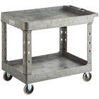 Lavex Industrial Large Gray 2-Shelf Utility Cart - 40 3/4 inch x 25 1/2 inch x 33 1/2 inch