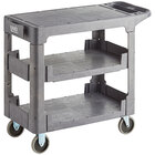 Lavex Industrial Medium Gray 3-Shelf Utility Cart with Flat Top and Built-In Tool Compartment - 38 inch x 18 3/4 inch x 32 1/4 inch