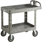 Lavex Industrial Large Gray 2-Shelf Utility Cart with Ergonomic Handle, Built-In Tool Compartments, and Oversized Wheels - 43 1/8 inch x 24 5/8 inch x 38 1/8 inch