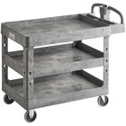Lavex Industrial Large Gray 3-Shelf Utility Cart with Ergonomic Handle and Built-In Tool Compartments - 43 1/8 inch x 24 5/8 inch x 38 1/8 inch