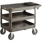 Lavex Industrial Large Black 3-Shelf Utility Cart with Premium Handle, Built-In Tool Compartments, and Oversized Wheels - 46 3/4 inch x 25 1/2 inch x 33 1/2 inch