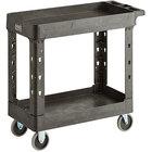 Lavex Industrial Medium Black 2-Shelf Utility Cart - 34 1/2 inch x 16 1/2 inch x 32 1/2 inch