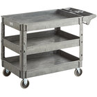 Lavex Industrial Large Gray 3-Shelf Utility Cart with Premium Handle and Built-In Tool Compartments - 46 3/4 inch x 25 1/2 inch x 33 1/2 inch