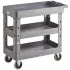 Lavex Industrial Medium Gray 3-Shelf Utility Cart - 34 1/2 inch x 16 1/2 inch x 32 1/2 inch