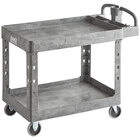 Lavex Industrial Large Gray 2-Shelf Utility Cart with Ergonomic Handle and Built-In Tool Compartments - 43 1/8 inch x 24 5/8 inch x 38 1/8 inch