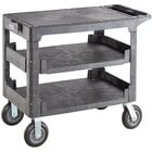 Lavex Industrial Large Black 3-Shelf Utility Cart with Flat Top, Built-In Tool Compartment, and Oversized Wheels