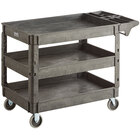 Lavex Industrial Large Black 3-Shelf Utility Cart with Premium Handle and Built-In Tool Compartments - 46 3/4 inch x 25 1/2 inch x 33 1/2 inch