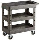 Choice Medium Black 3-Shelf Utility Cart - 34 1/2 inch x 16 1/2 inch x 32 1/2 inch