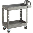 Lavex Industrial Medium Gray 2-Shelf Utility Cart with Ergonomic Handle and Built-In Tool Compartments - 37 5/8 inch x 17 1/8 inch x 38 7/8 inch