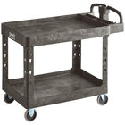 Lavex Industrial Large Black 2-Shelf Utility Cart with Ergonomic Handle and Built-In Tool Compartments - 43 1/8 inch x 24 5/8 inch x 38 1/8 inch