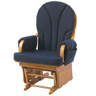 Foundations 4201046 Lullaby 25 1/2 inch x 27 inch x 41 inch Natural Wood Glider Rocker with Navy Cushions