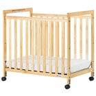 Foundations 1632040 SafetyCraft 24 inch x 38 inch Natural Compact Clearview Wood Crib with Fixed Sides, SafeSupport Adjustable Mattress Board, and 3 inch InfaPure Mattress