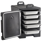 CaterGator Black Front Loading Insulated Food Pan Carrier with Vigor Stainless Steel Hotel Pans and Lids