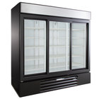 Beverage-Air LV66HC-1-B LumaVue 75 inch Black Refrigerated Glass Door Merchandiser with LED Lighting