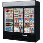 Beverage Air LV66Y-1-B-LED LumaVue 75 inch Three Section Glass Door Black Merchandising Refrigerator with LED Lighting- 70 Cu. Ft.