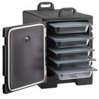 CaterGator Black Front Loading Insulated Food Pan Carrier with Vigor Plastic Food Pans and Seal Lids