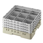 Cambro 9S1114184 Beige Camrack Customizable 9 Compartment 11 3/4 inch Glass Rack