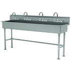 Advance Tabco FS-FM-80-F 14-Gauge Stainless Steel Multi-Station Hand Sink with Tubular Legs, 8 inch Deep Bowl, and 4 Manual Faucets - 80 inch x 19 1/2 inch