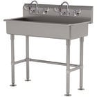 Advance Tabco FS-FM-40-ADA-F 14-Gauge Stainless Steel ADA Multi-Station Hand Sink with Tubular Legs, 8 inch Deep Bowl, and 2 Manual Faucets - 40 inch x 19 1/2 inch