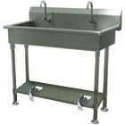 Advance Tabco FS-FM-40FV 14-Gauge Stainless Steel Multi-Station Hand Sink with Tubular Legs, 8 inch Deep Bowl, and 2 Toe-Operated Faucets - 40 inch x 19 1/2 inch