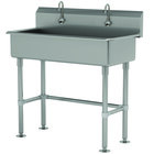 Advance Tabco FS-FM-40EF 14-Gauge Stainless Steel Multi-Station Hand Sink with Tubular Legs, 8 inch Deep Bowl, and 2 Electronic Faucets - 40 inch x 19 1/2 inch
