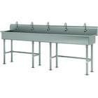 Advance Tabco FS-FM-100EF 14-Gauge Stainless Steel Multi-Station Hand Sink with Tubular Legs, 8 inch Deep Bowl, and 5 Electronic Faucets - 100 inch x 19 1/2 inch