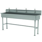 Advance Tabco FS-FM-80EF 14-Gauge Stainless Steel Multi-Station Hand Sink with Tubular Legs, 8 inch Deep Bowl, and 4 Electronic Faucets - 80 inch x 19 1/2 inch