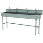 Advance Tabco FS-FM-80EFADA 14-Gauge Stainless Steel ADA Multi-Station Hand Sink with Tubular Legs, 8 inch Deep Bowl, and 4 Electronic Faucets - 80 inch x 19 1/2 inch