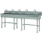 Advance Tabco FS-FM-100-F 14-Gauge Stainless Steel Multi-Station Hand Sink with Tubular Legs, 8 inch Deep Bowl, and 5 Manual Faucets - 100 inch x 19 1/2 inch