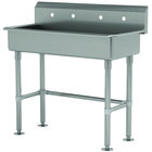 Advance Tabco FS-FM-40-ADA 14-Gauge Stainless Steel ADA Multi-Station Hand Sink with Tubular Legs and 8 inch Deep Bowl for 2 Faucets - 40 inch x 19 1/2 inch