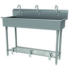 Advance Tabco FS-FM-60FV 14-Gauge Stainless Steel Multi-Station Hand Sink with Tubular Legs, 8 inch Deep Bowl, and 3 Toe-Operated Faucets - 60 inch x 19 1/2 inch