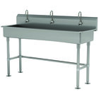 Advance Tabco FS-FM-60EF 14-Gauge Stainless Steel Multi-Station Hand Sink with Tubular Legs, 8 inch Deep Bowl, and 3 Electronic Faucets - 60 inch x 19 1/2 inch