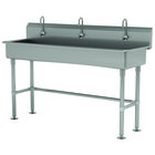 Advance Tabco FS-FM-60EFADA 14-Gauge Stainless Steel ADA Multi-Station Hand Sink with Tubular Legs, 8 inch Deep Bowl, and 3 Electronic Faucets - 60 inch x 19 1/2 inch