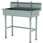 Advance Tabco FS-FM-40EFADA 14-Gauge Stainless Steel ADA Multi-Station Hand Sink with Tubular Legs, 8 inch Deep Bowl, and 2 Electronic Faucets - 40 inch x 19 1/2 inch