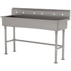 Advance Tabco FS-FM-60 14-Gauge Stainless Steel Multi-Station Hand Sink with Tubular Legs and 8 inch Deep Bowl for 3 Faucets - 60 inch x 19 1/2 inch