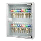 Barska CB12952 10 3/4 inch x 3 inch x 13 3/4 inch Gray Steel 20-Key Cabinet with Glass Door and Key Lock