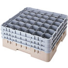 Cambro 36S958184 Beige Camrack Customizable 36 Compartment 10 1/8 inch Glass Rack