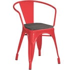 Lancaster Table & Seating Alloy Series Red Metal Indoor Industrial Cafe Arm Chair with Black Wooden Seat