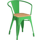 Lancaster Table & Seating Alloy Series Green Metal Indoor Industrial Cafe Arm Chair with Natural Wooden Seat
