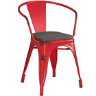 Lancaster Table & Seating Alloy Series Distressed Red Metal Indoor Industrial Cafe Arm Chair with Black Wooden Seat