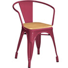 Lancaster Table & Seating Alloy Series Sangria Metal Indoor Industrial Cafe Arm Chair with Vertical Slat Back and Natural Wood Seat