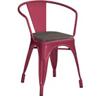 Lancaster Table & Seating Alloy Series Sangria Metal Indoor Industrial Cafe Arm Chair with Vertical Slat Back and Black Wood Seat