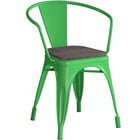 Lancaster Table & Seating Alloy Series Green Metal Indoor Industrial Cafe Arm Chair with Black Wooden Seat