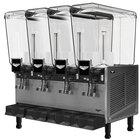 Vollrath VBBE4-37-S Quadruple 5.28 Gallon Bowl Refrigerated Beverage Dispenser with Stirring Paddle Circulation - 115V
