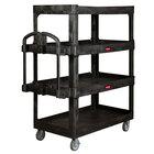 Rubbermaid 2128657 Ergo Black 700 lb. 4 Shelf Heavy-Duty Utility Cart with Ergonomic Handle