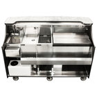 Perlick MOBS-66TS-S 66 inch Stainless Steel Mobile Bar with Ice Chest and Sink - 120V